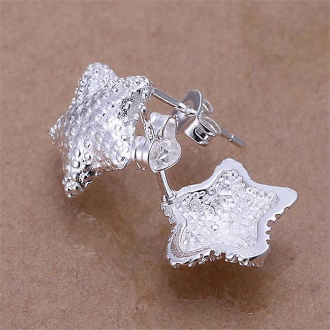 Hot selling wholesale 925 Free shipping silver earrings for girls 925 fashion jewelry Polished Star Earrings/abyaitfa LKNSPCE032