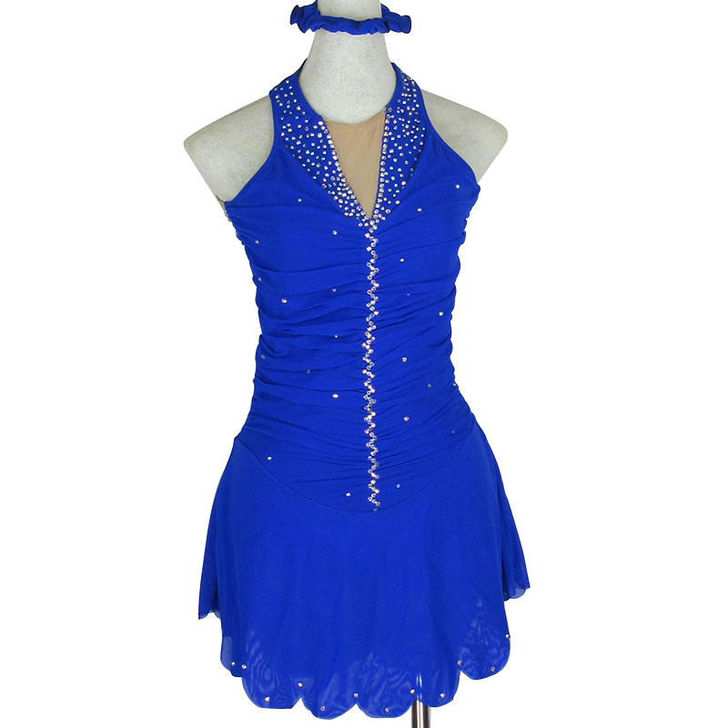 Personnalisé Chiffre Robe De Patinage Costume De Patinage de Glace Jupe Gymnastique Bleu Adulte Fille Spectacle Performance Strass Concurrence