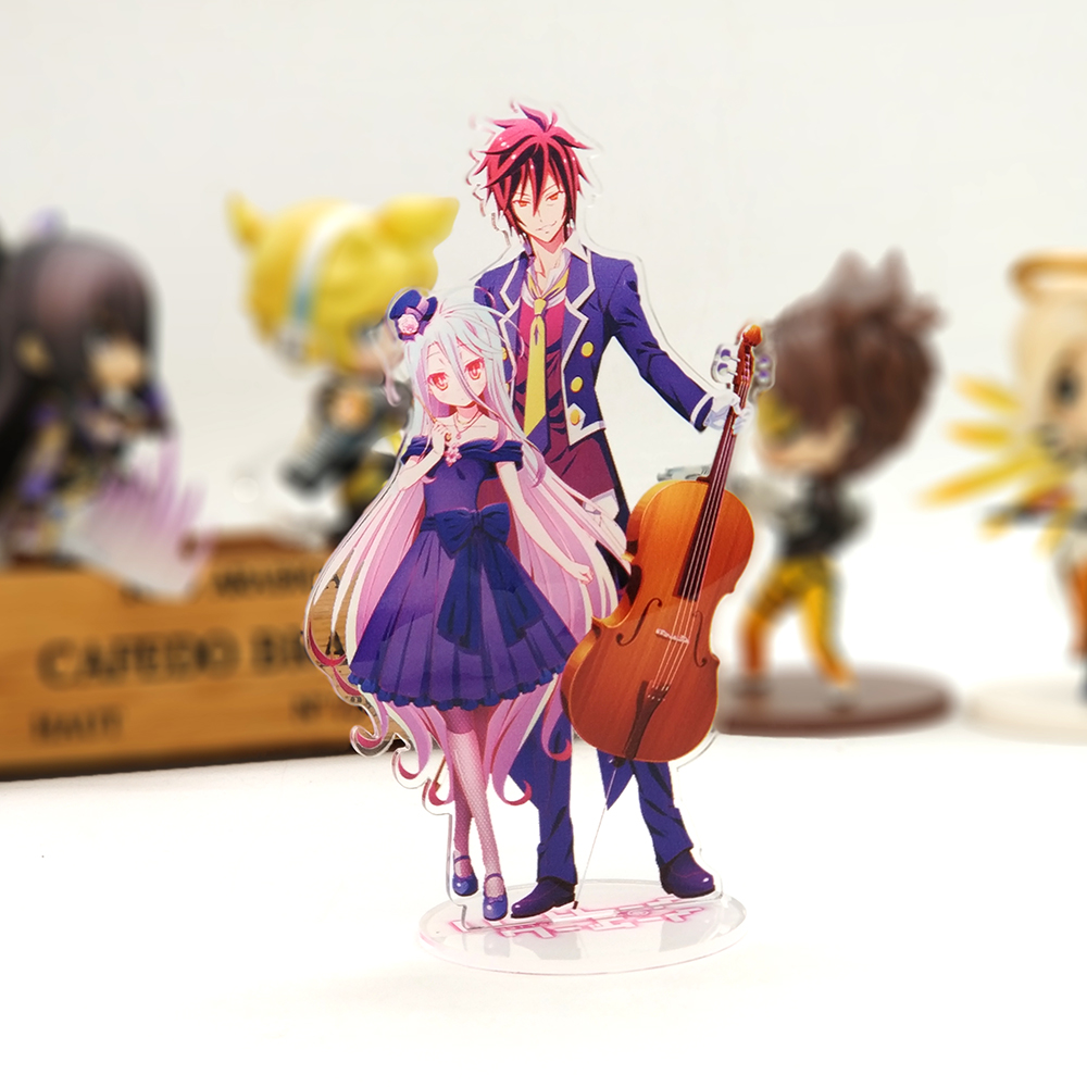 Love Thank You NO GAME NO LIFE Sora Shiro Acrylic Stand Figure Model Double-side Plate Holder Cake Topper Anime JAPANESE Cool