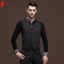 Men's latin dancing clothes stripes latin dance Vest boy's latin dance sleeveless sweater for men's latin dance clothing