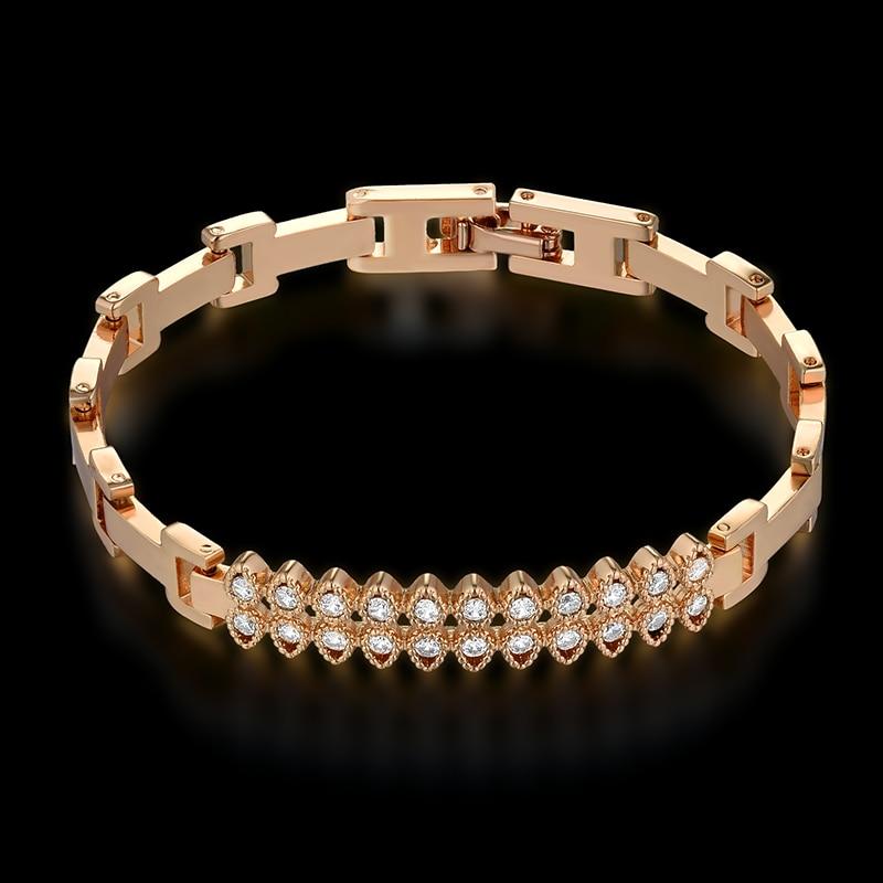 Womens Bracelets 2018 New Braslet 17CM Gold Color Cubic Zirconia Tennis Charm Bracelet For Women Jewelry