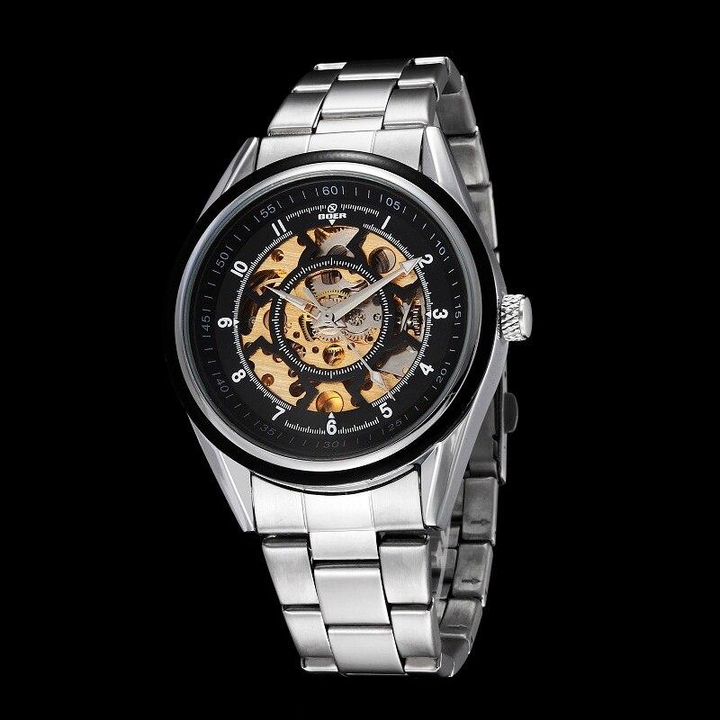 GOER brand men s mechanical watches Automatic Luminous digital waterproof male Wrist watch Skeleton stainless steel