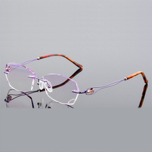 New RX2009 Rimless Diamond Eyeglasses Frame for Women Eyewear Fashion