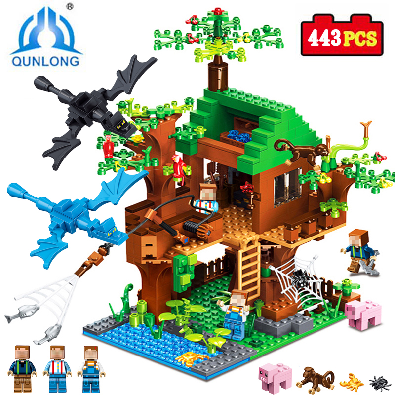 Qunlong Minecrafted Classic Tree House Figures Building Blocks My World Compatible Legoings Marvel Bricks Toys For Children Gift smartable building blocks of my world minecrafted lepin 4in1 steve with weapon figures brick model toys for children gift lr 823