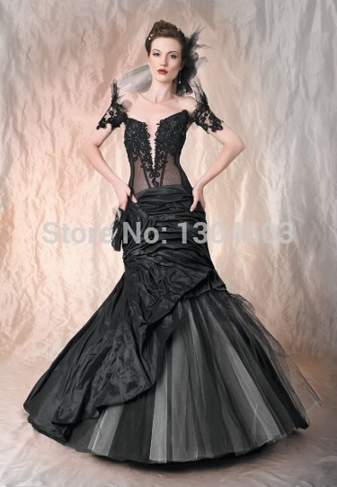 Online get cheap black gothic wedding dresses aliexpress for Black mermaid wedding dresses