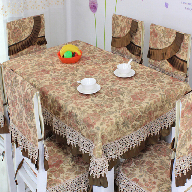 dark brown dining chair covers foot rests for chairs wedding table cloth manteles para mesa embroidered tablecloths crochet lace pastoral flowers