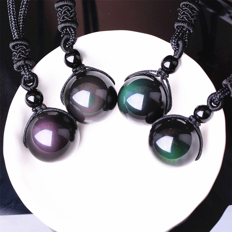 Necklaces & Pendants Natural Stone For Women and Men Black Obsidian Rainbow Eye Beads Ball Transfer Good Lucky Love Energy Gift stone pendant natural stone pendantblack obsidian - AliExpress