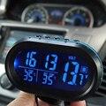 3 Em 1 Kit Relógio Eletrônico Termômetro Carro Voltímetro Display Digital Dentro E Fora Da Ferramenta de Medição de Temperatura Duplo Com