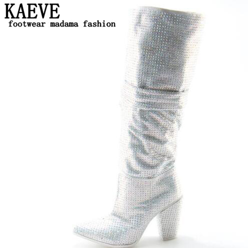 2017 Newest Luxury Crystal Women Pointy Toe Knee High Boots Sexy Chunky Heel Boots Slip On Ladies Knight Boots Rhinestone Boots 2018 new suede leather patchwork women flodover mid calf boots sexy pointy toe ladies blade heel boots zipper knight boots