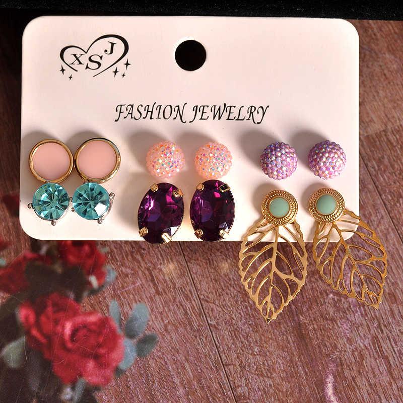 Nueva joyería de moda para mujer, al por mayor, fiesta para niñas, broche rosa, púrpura, verde, mezcla y fósforo, 6 par/set pendientes regalo envío gratis