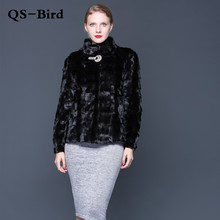 女性ナチュラルミンクコート襟襟ファッションジャケットミンクコートロングスリーブブラックエレガントな革毛皮コート国際襟