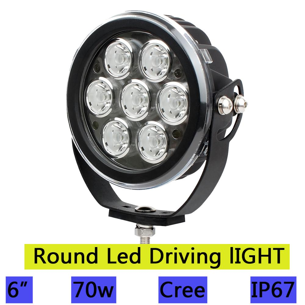 70W Spot Round Led Work Driving Light Offroad Lamp Fog Off-Road Truck Pickup SUV Front Bumper Roof Auto Automobile Car Head lamp