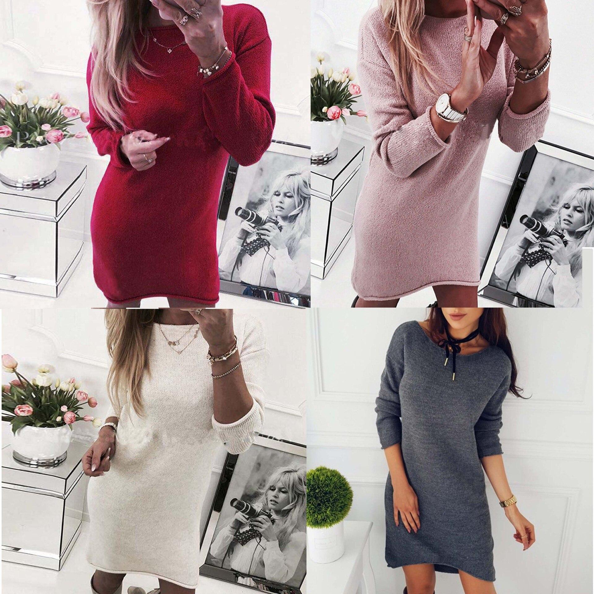 2e99f3bc104e White Pink Red Gray Knitwear Long Sleeve Women Irregular Jumper Dress  Knitted Sweater Dress Bodycon Autumn