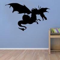 דרקון נשלף עם כנפי עיצוב אמנות מדבקת קיר ויניל מדבקת קיר ציור קיר סלון בית בעלי חיים לקישוט חדר Y-690