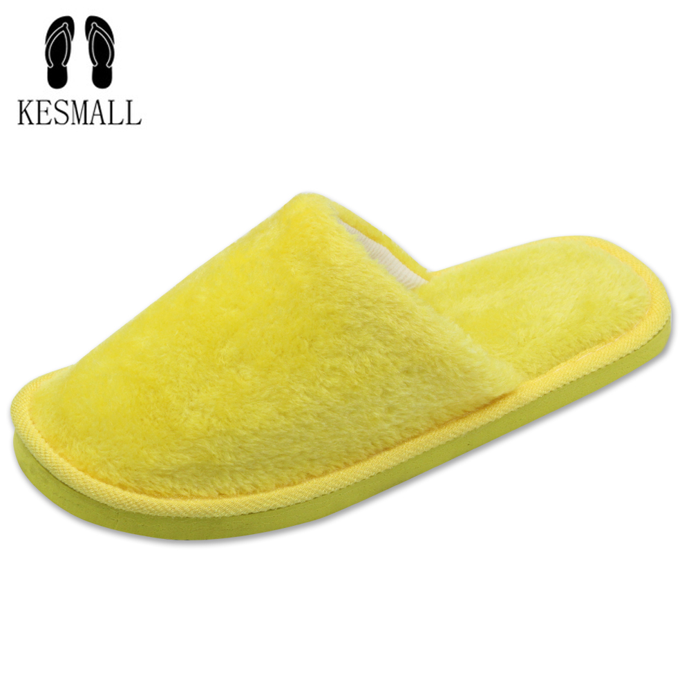 KESMALL Candy color Warm Home Slippers Women Bedroom Winter Slippers  Indoor Slippers Cotton Floor Home Flax Shoes WS304 kesmall soft plush cotton cute slippers shoes non slip floor indoor house home furry slippers women shoes for bedroom ws330