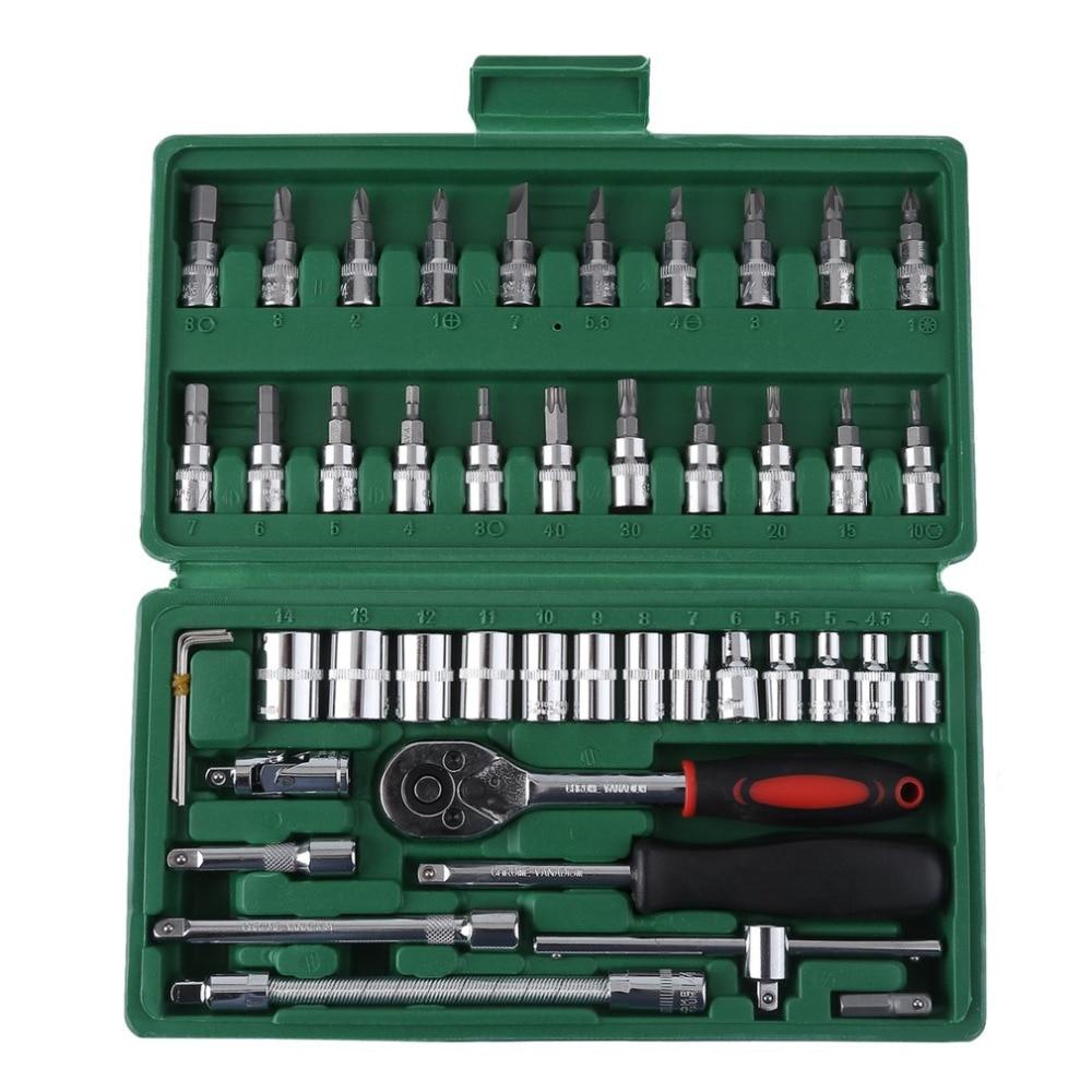 46 шт., крутящий момент Гаечные ключи комплект Ручные инструменты для автомобиля 1/4-дюймовый набор торцевых прочный гаечный ключ set socket Инстр...