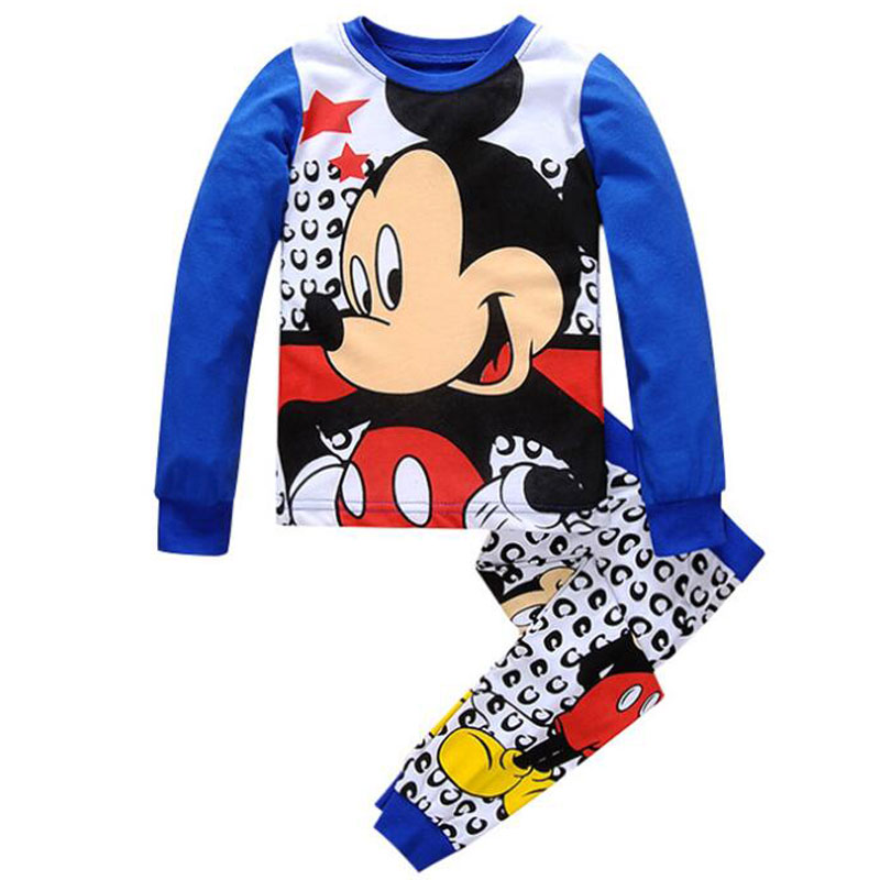 Baby Boys Girls Minnie Mickey Pajamas Sets Clothes Children Kids Spiderman Cartoon Spring Autumn Sleeping Wear Clothing Costume