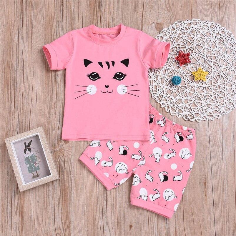 Clothing Sets Energetic Lovely Pink Summer Short Clothes Set Sweet Toddler Baby Girls Clothes Cute Mini Cartoon Cat Ouffit Roupas Infantis Menina 4de07