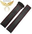 Часы аксессуары 20 мм 22 мм красный кожаный углеродного волокна зерна черный с красной строчкой часы полоса