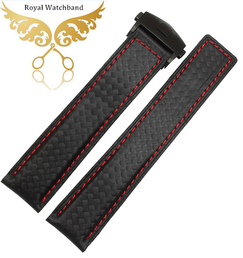 Watch Accessories 20mm 22mm Red Leather Carbon Fiber Grain Black With Red Stitching Watch Band