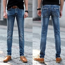 2015 весна/лето tide новый мужской джинсы стрейч Корейской моды ноги тонкий похудения джинсы