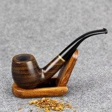 Geschenk Satz Pfeife 15 cm Tabak Rohr 9mm Filter Ebenholz Rohr Metall Ring Stil Rauch Rauchen Holz rohr FT-508B
