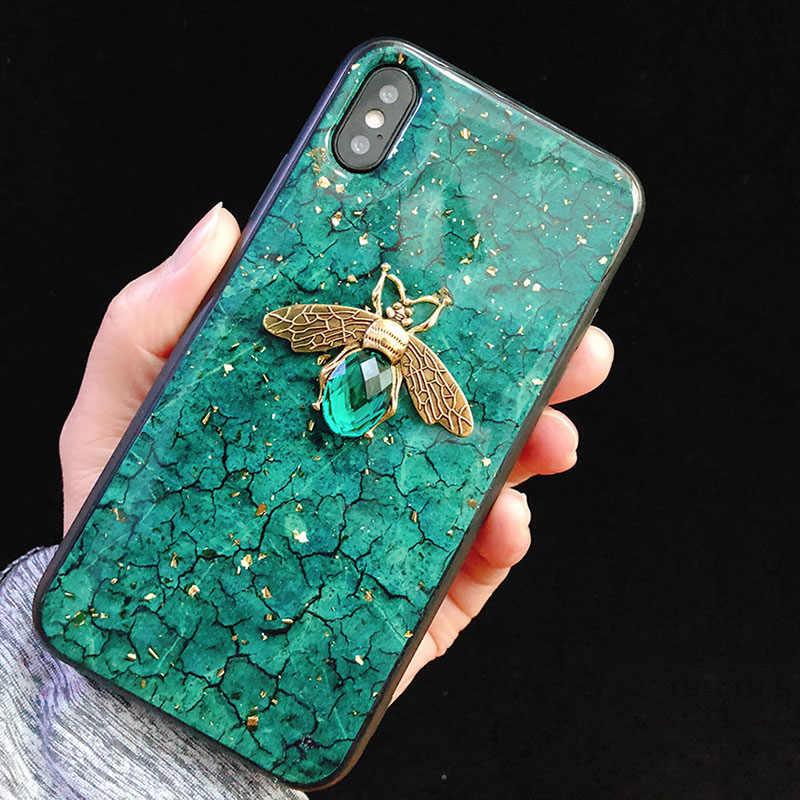 Bling Bee Telefoon Case Voor Iphone 11X7 6 6S 8 Plus Goudfolie Marmer Glitter Cover Xs max Xr A70 A50 S10 Note 9 10 Pro S8 S9 Plus