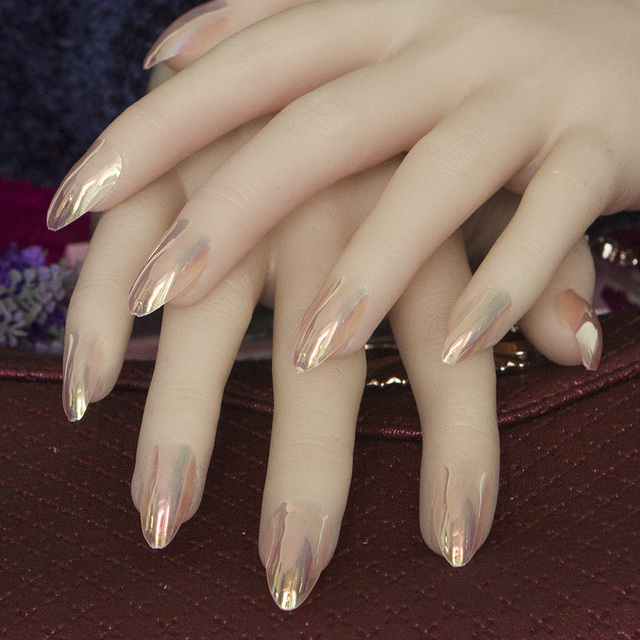 24pcs full cover stiletto nails Tips Metal pink/Nude/Blue False nail ...