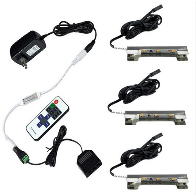 led onder kast verlichting voor glas rand plank terug side clip klem strip verlichting 3 lampen