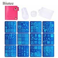 Biutee 12 Pcs Nail Manicure Plates +1 Polish Stamper + 1 Scraper Set Nail Art Stamp Plate Stamping Templates Stamper Scraper Kit