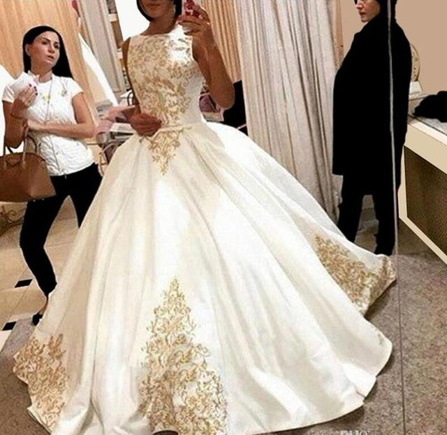 2017 Hot Sale Luxury Wedding Dresses Gold Embrodery Wedding Gowns ...