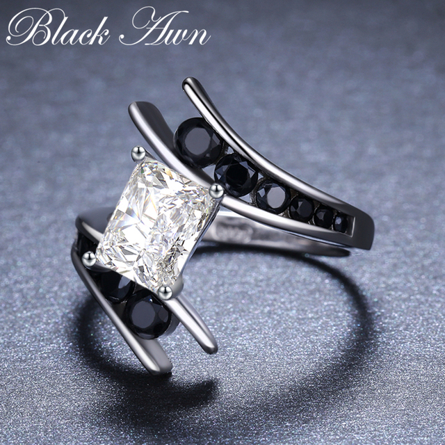 [BLACK AWN] Fine Jewelry 3.9 Gram 100% Genuine 925 Sterling Silver Row Black Stone Engagement Rings for Women Bague C299 3