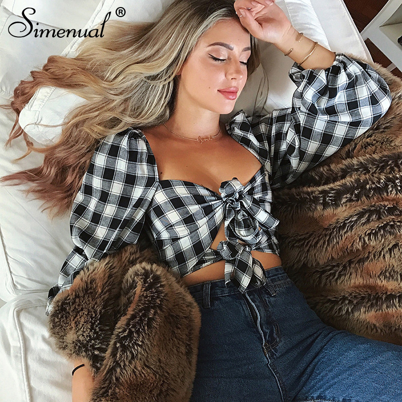 Simenual Bow Tie Sexy Vintage Blouses Women Long Sleeve Plaid Shirts Bandage Casual Fashion Short Blouse Shirt Femme Summer 2019