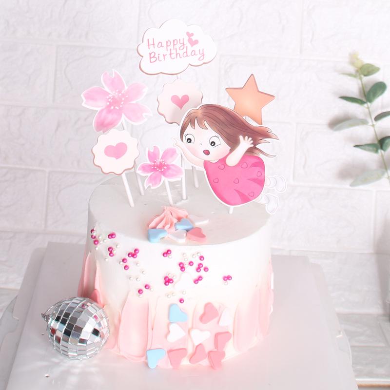 Pleasing 2020 Sweet Little Girl Flower Heart Theme Cake Topper Happy Funny Birthday Cards Online Alyptdamsfinfo