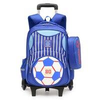 Waterproof blue Wheeled Bags School Boys Removable Trolley Backpack School Children Large Capacity Book Bags Travel Rucksack Bag