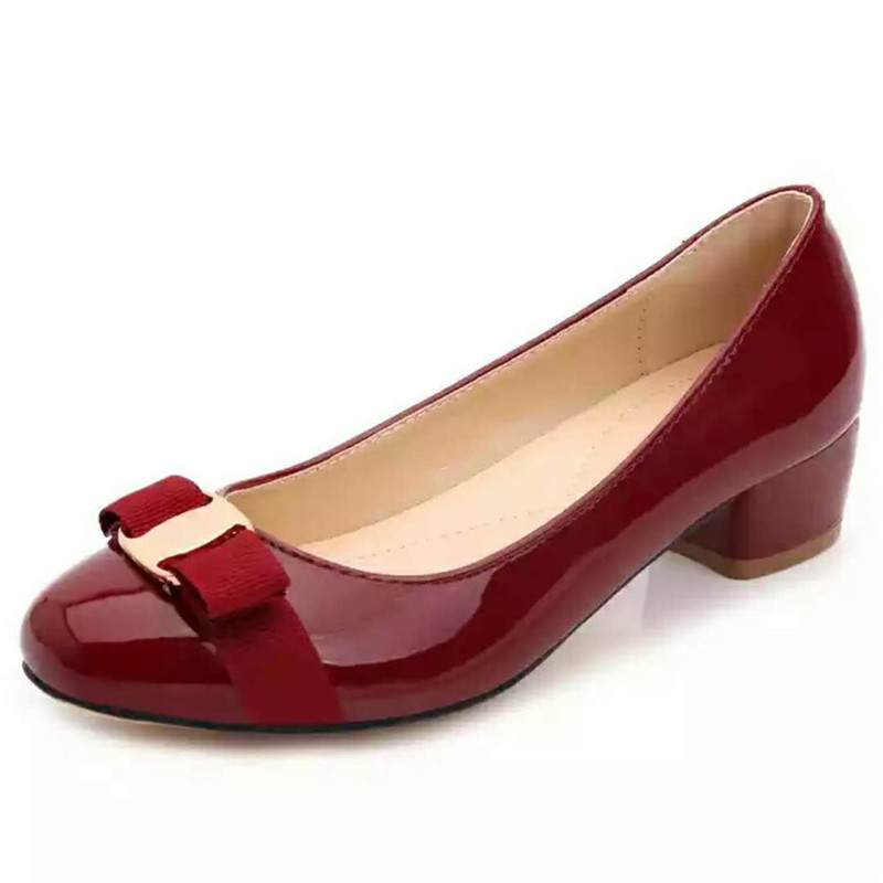 High Quality Brand Same Patent Leather Round Head Thick With Red Wedding Shoes Royal Blue Black Huarche Shoes Women Size 34 41-in Women's Pumps from Shoes    1