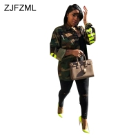 ZJFZML Camouflage Print Casual Jackets Women Turn Down Collar Full Sleeve Coat Streetwear Army Green Letter Outwear Open Stitch
