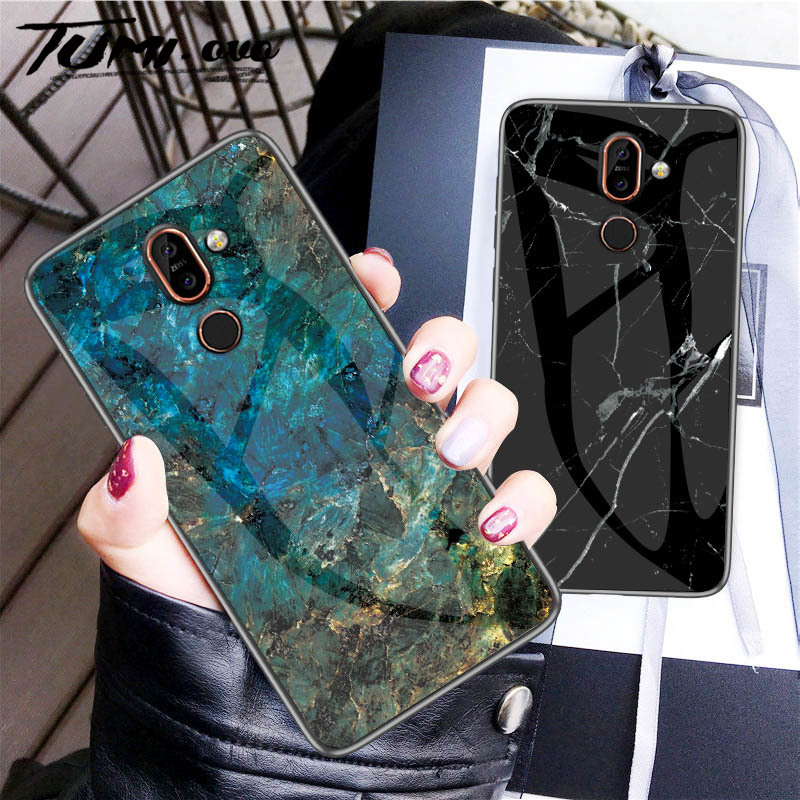 Luxury Marble Tempered Glass Case For <font><b>Nokia</b></font> X6 7 Plus 3.1 <font><b>7.1</b></font> Plus X7 4.2 1 X71 <font><b>Back</b></font> Phone Protect <font><b>Cover</b></font> Case Silicone Frame image