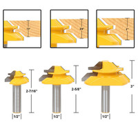 3pcs 1 2 Shank Glue Joint Lock Miter Router Bits 45 Degree 2 Flute Milling Cutter