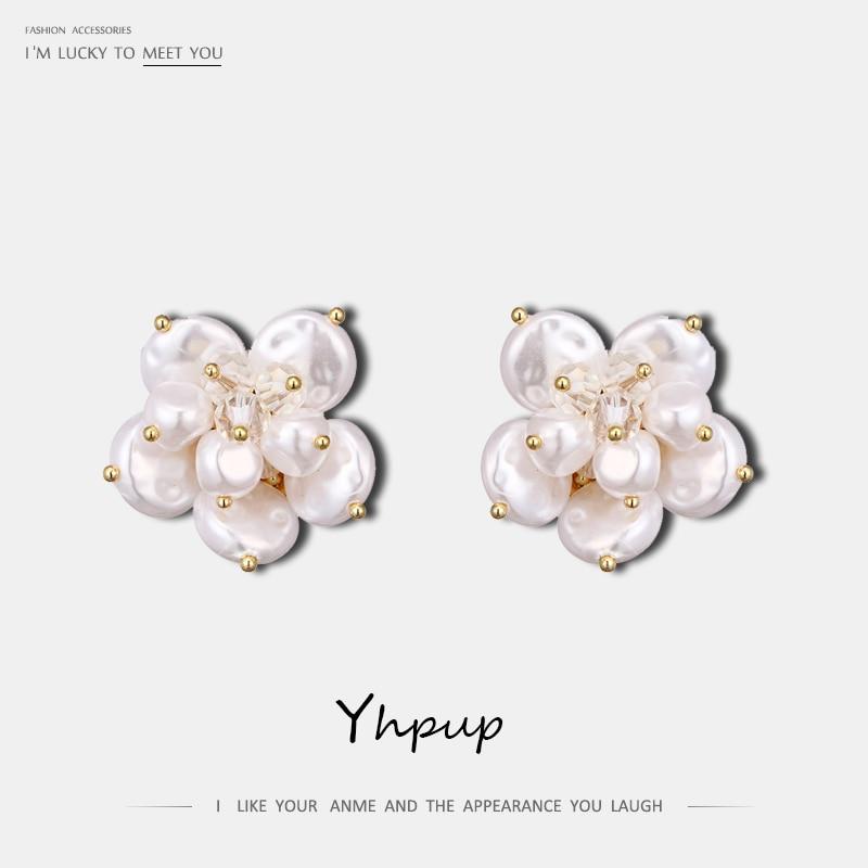 Yhpup Fashion Exquisite Baroque Pearls Stud Earrings Flower Crystal Earrings for Bride Women Wedding Party Jewelry Oorbellen New