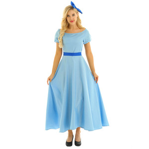 Image 4 - Women Halloween Cosplay Costume Wendy Dress Boat Neck Short Puff Sleeves Princess Party Fancy Maxi Dress with Headwear and Belt