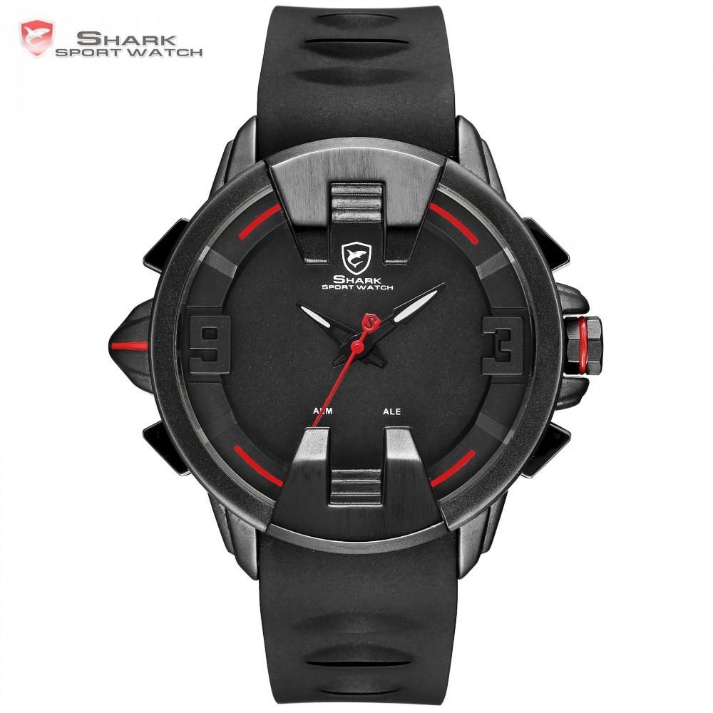 Wobbegong Top Brand SHARK Sport Black Watch New Design Digital LED Analog Men's Quartz Silicon Band Geek Men Clock Watch / SH557 top brand luxury shark sport new design