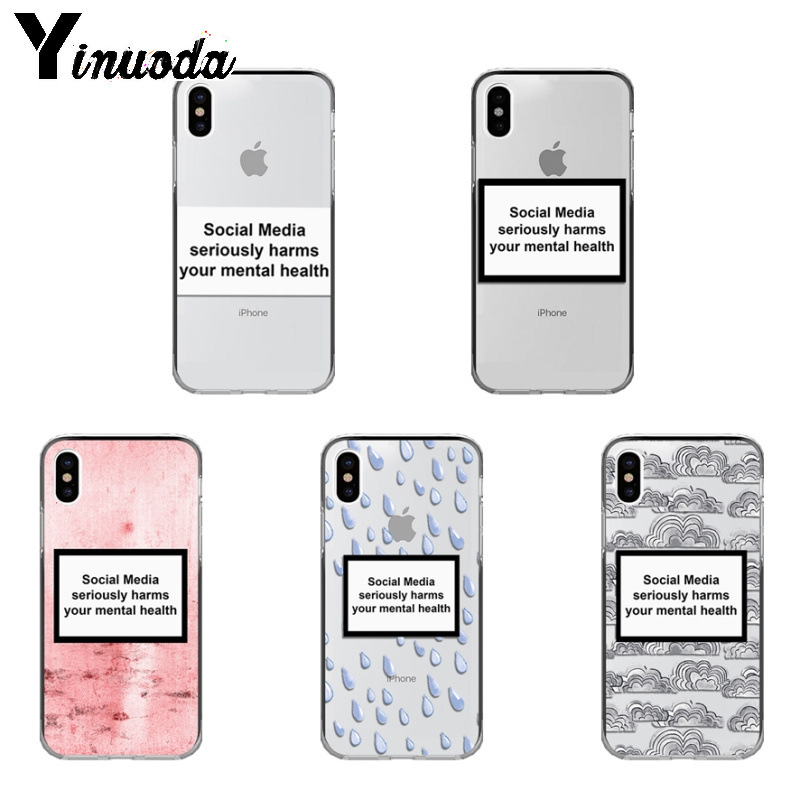 Yinuoda Social Media seriously harms your mental Pattern TPU Soft Case for iPhone X XS XR XSMax 6 6S 7 7plus 8 8Plus Xs 5 5s-in Half-wrapped Cases from Cellphones & Telecommunications