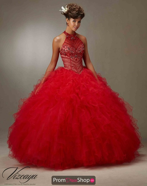 New Fashion Beautiful Red Beading Ball Gown Quinceanera Dresses ...
