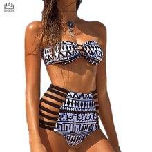 Mujeres Del Traje de Baño de Cintura alta Bikini Set Trajes de Baño Vendaje Imprimir Crossover India Imprimir Traje de Baño Trajes de Baño Para Mujer biquini