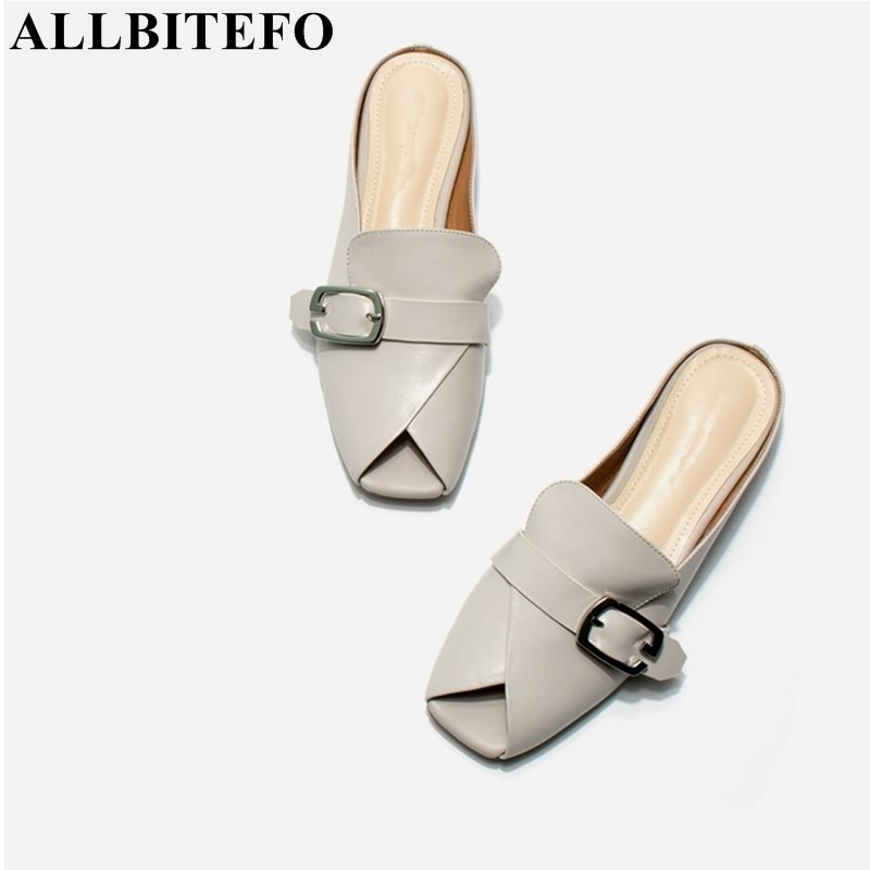 ALLBITEFO brand soft genuine leather women flip flops low heels women summer fashion sexy slippers slides peep toe sandals-in Slippers from Shoes    1