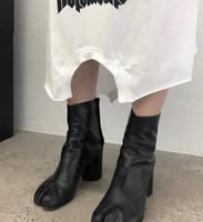 Женские Разделение кожаные туфли-лодочки, ботинки до середины икры на высоком квадратном каблуке Женская обувь на молнии Zsell A206