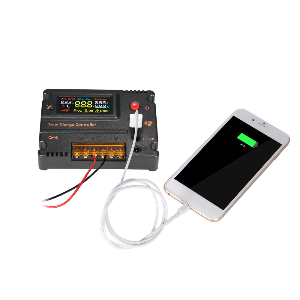 20A 12V 24V Solar Charge Controller Battery Regulator with LCD Color Display Overload Protection Temperature Compensation 12 24v 10a lcd display usb solar regulator charge controller battery protection street light lead acid battery charge controller