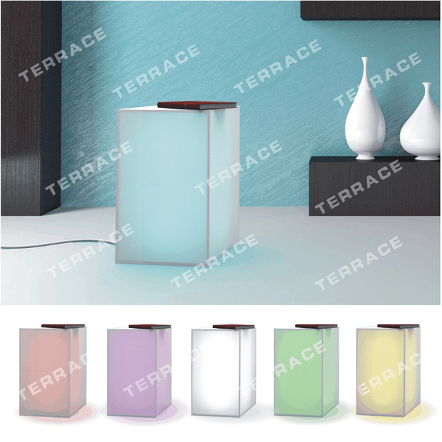 Foggy Acrylic Lighting nightstand,Lucite LED Side Sofa Tables