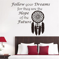 Art Design Home Decoration Vinyl Beautiful Dream Catcher Wall Sticker Removable House Decor PVC Feather Decal In Bedroom or Shop